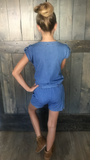 Short Sleeve Light Denim Romper