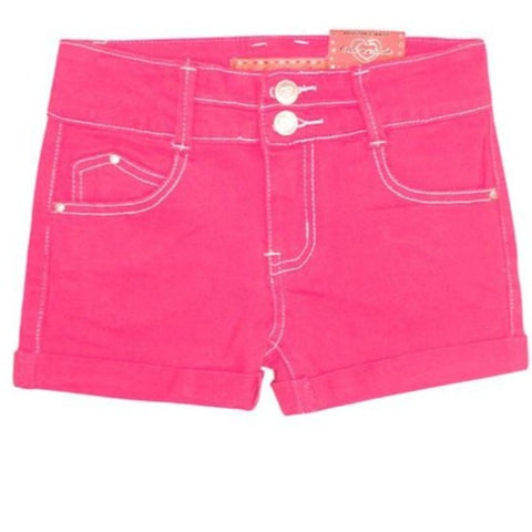 Girl's soft stretch shorts with 2 Button waistband, roll-up cuff, adjustable button waist and white contrast thread are just a few reasons why you will LOVE these pink shorts. Shop Lolligagin.com to purchase.