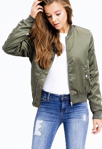 Olive green zip banded hem pocketed moto cropped bomber jacket.   Comfy, soft and warm!! This jacket is the perfect addition to your fall wardrobe! Shop Lolligagin.com to purhcase.