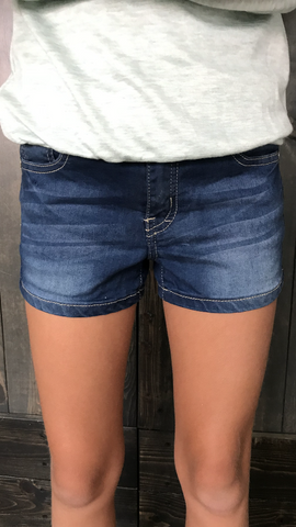 Simple wash dark denim shorts are perfect for the times your girl wants to wear the same shorts 3 days in a row! Nobody will notice!   These adorable shorts are so soft and have lots of stretch. They also have an adjustable elastic/button waist for easy fit.  Your little one will not take these off.  They are worth every penny.