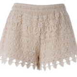 Step out in these adorable and comfortable Ivory Lace Shorts with elastic waist.   Pair these lace shorts with our Tier Rust Tank ($29.99) and prepare for lots of compliments!   True to size!