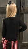 Girls Black Boatneck Tie Sweater