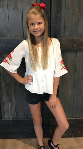Girls White Boho Top with Rose Embroidery