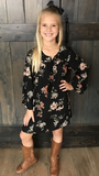 This unique Long Sleeve Black Shift Midi Dress with floral print is lightweight and absolutely adorable!    Wear as a dress or tunic! Shop Lolligagin.com to purchase.