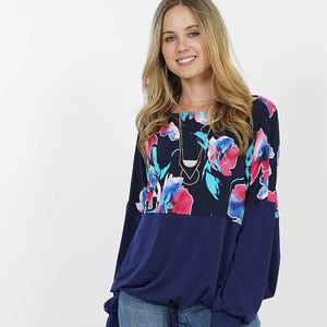 Print Colorblock Drawstring hem Blouson Top