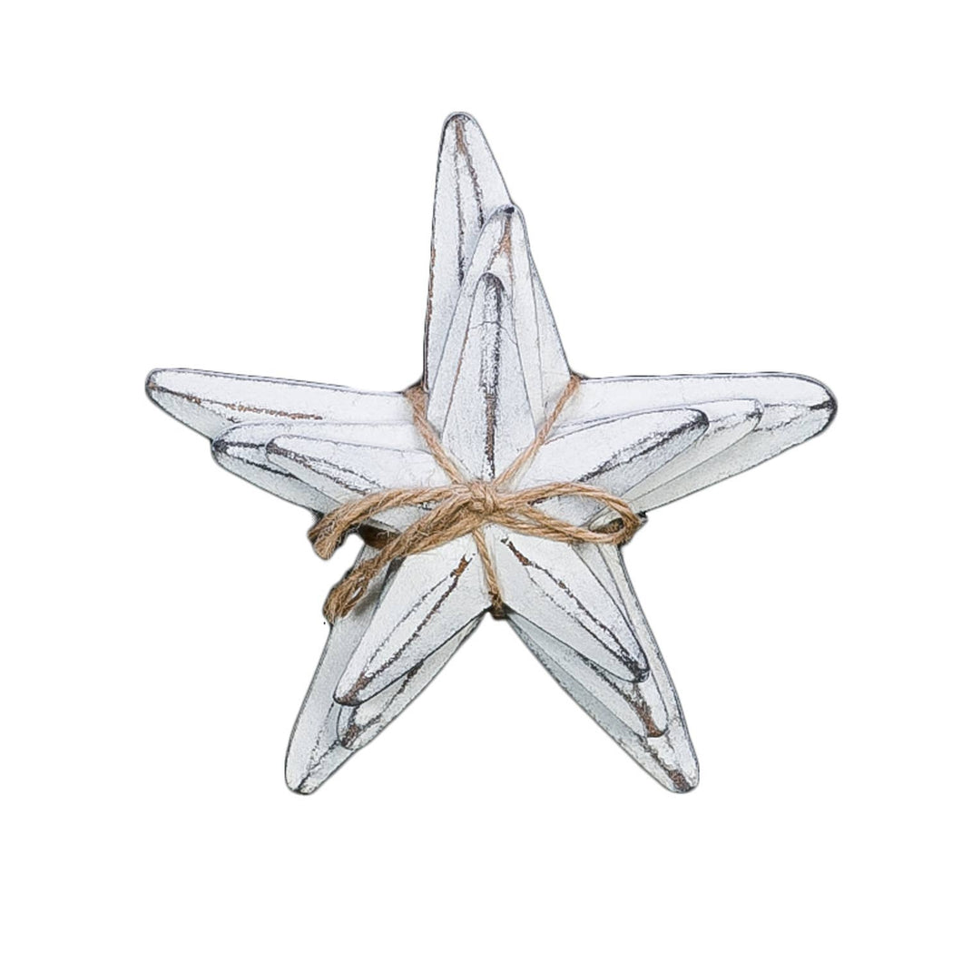 Set Of 3 White Wash Starfish