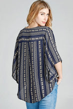 Load image into Gallery viewer, Navy Kimono Sleeve Blouse