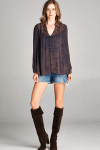 Navy Boho Blouse