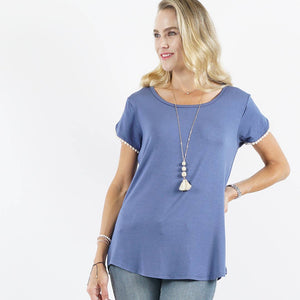 Pompom Detail Tulip Sleeve Top