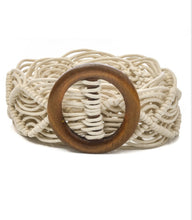 Load image into Gallery viewer, Wood Buckle Braided Rope Belt