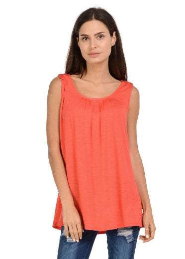 Front Pleated Sleeveless Top