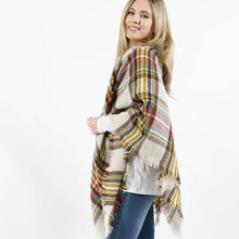 Load image into Gallery viewer, Multi-plaid Blanket Scarf