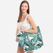 Load image into Gallery viewer, Tropical Leaf Print Totes/wristlets
