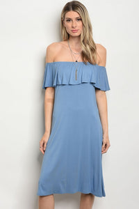 Light Blue Off the Shoulder Midi Dress