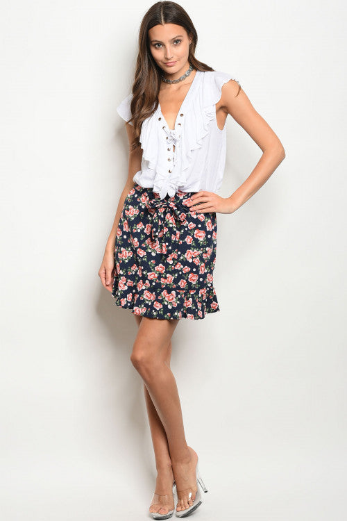NAVY WITH ROSES PRINT SKIRT