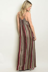Multicolored Striped Maxi Dress