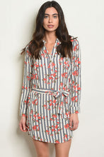 Load image into Gallery viewer, Navy Stripe Floral Shirt Dress