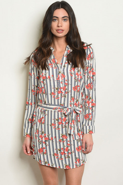 Navy Stripe Floral Shirt Dress