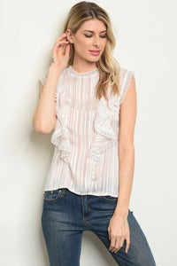 Sleeveless Ruffled Blouse