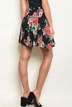 Load image into Gallery viewer, Black Floral Skirt