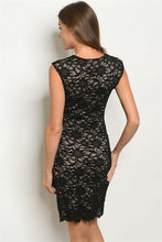 Load image into Gallery viewer, Black Nude Lace Dress