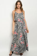 Load image into Gallery viewer, Gray Floral Maxi Dress