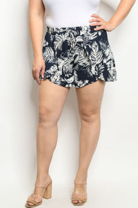 Navy Leaves Shorts