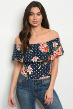 Load image into Gallery viewer, Navy/ White Floral Bodysuit