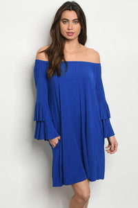 Royal Bell Sleeve Off Shoulder Dress
