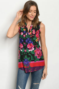 Black Floral Sleeveless Blouse