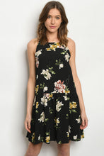 Load image into Gallery viewer, Black Floral Drop Waist Dress