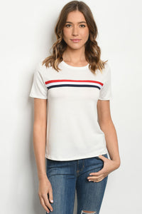 Off White Short Sleeve Scoop Neck Top with Detail
