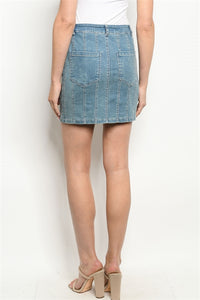 Light Denim Sew Stitch Detailed Skirt