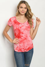 Load image into Gallery viewer, Red Tie Dye Scoop Neck