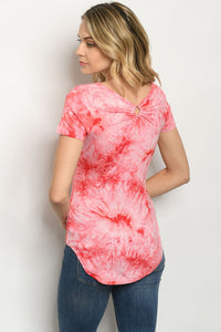 Red Tie Dye Scoop Neck