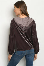 Load image into Gallery viewer, Plum Velvet Track Jacket