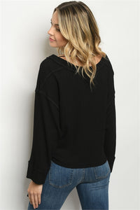 Long Sleeve Black Waffle Top
