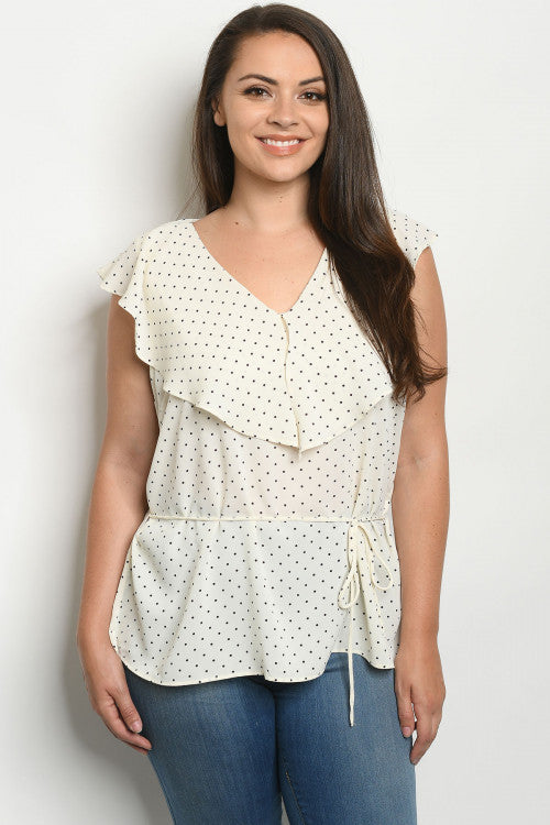 IVORY BLACK WITH DOTS PLUS SIZE TOP