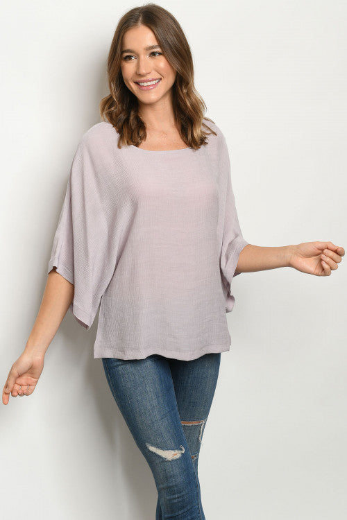 Audrey Lavender Big Sleeve Top