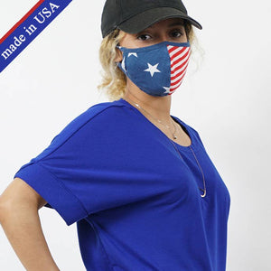 Stars and Stripes Face Mask - Filter Pocket Made in USA