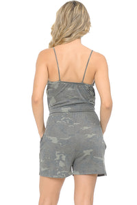 Light Army Camouflage Romper with Pockets