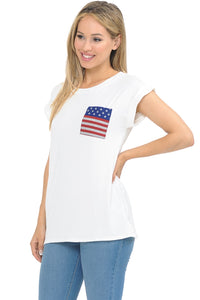 White Short Sleeve Top with Flag Pocket