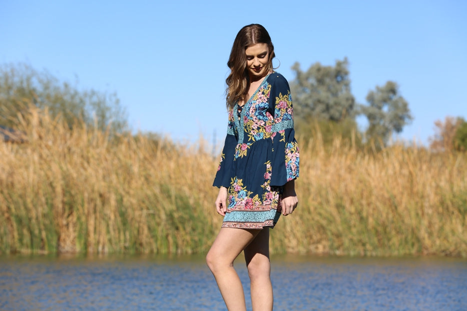 Blue Floral Flared Sleeve Dress