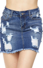 Load image into Gallery viewer, Destructed Denim Skirt