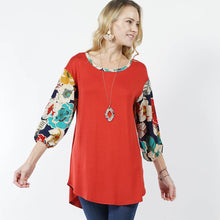 Load image into Gallery viewer, Floral 3/4 bishop sleeve curved hem tunic