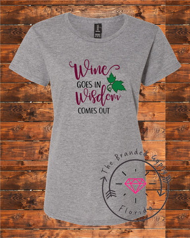 bf49292d Wine goes in, Wisdom comes out- Shirt/Tank/Transfer