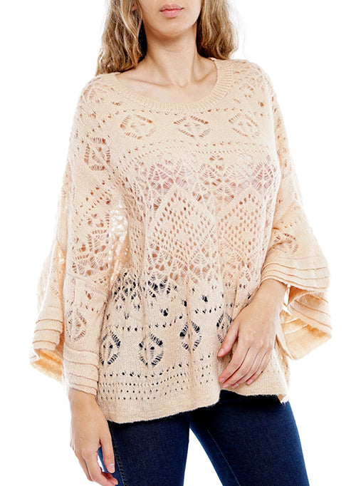 Khaki Bell-Sleeve Crochet Top