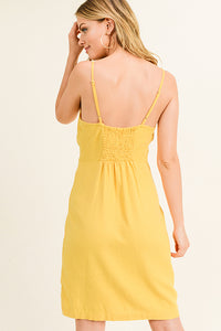 Yellow Linen Midi Dress