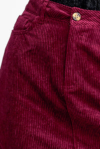 Wine Corduroy Skirt