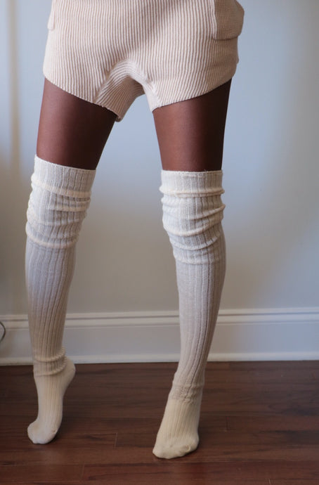 Over the Moon Cream Socks